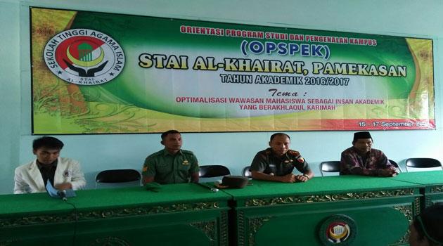 Komandan Kodim 0826 Pamekasan Letkol Inf Nuryanto saat menjadi nara sumber di kampus STAI Al-Khairat Pamekasan.