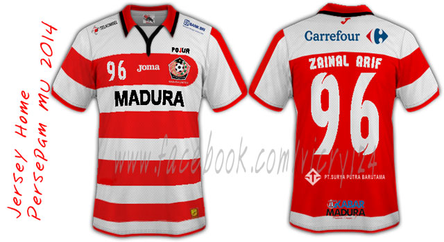 "Nama ""Madura"" tertulis di jersey Persepam (dulu)"